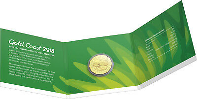 2018 XXI COMMONWEALTH GAMES GOLD COAST 50c CuNi GOLD PLATED UNCIRCULATED COIN