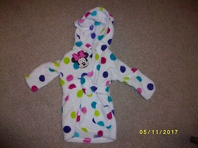 Girls White Print Warm Minnie Mouse Dressing Gown Age 0-6 Months from George