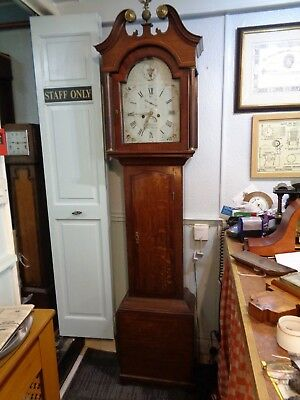 Longcase Clock Arch Painted Dial, 8 Day J. Watson Market-Raisin grandfather case