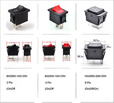(On)Off Momentary Small/Large Red Black Rectangle Rocker Switch All Quantities