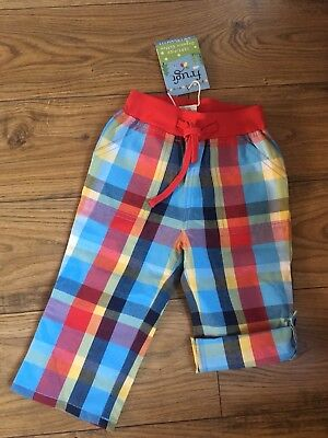 Boys  New Check Roll Up Trausers 6-12 Month