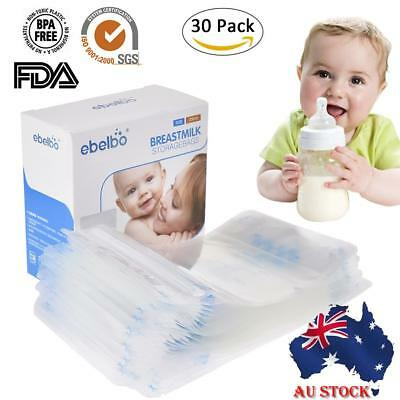 30Pcs BPA Free Baby Breast Milk Storage Food Bags Storage Pre-sterilised 200ML