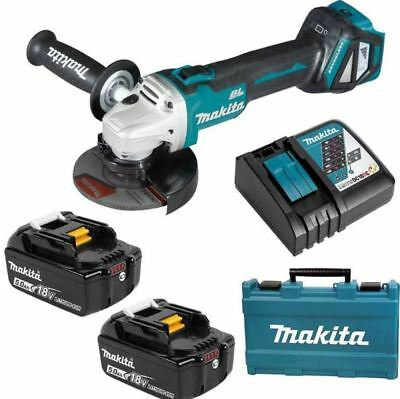 "Makita 18V 5.0Ah Li-Ion Brushless Cordless 125Mm (5"") Slide Angle Grinder Combo"