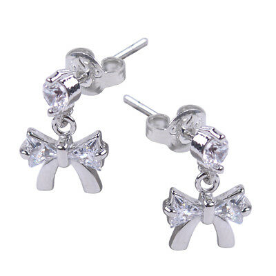 Hot Fashion Jewelry Silver Plated Zircon Hanging Bow Earrings Women Girls Gift