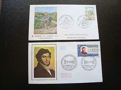 FRANCE - 2 envelopes 1st day 1972 (champollion/day stamp) (cy61) french