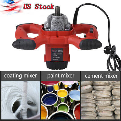 1500W 110V Electric Mixer Dual Gear 6 Speed for Stirring Mortar Paint Grout US