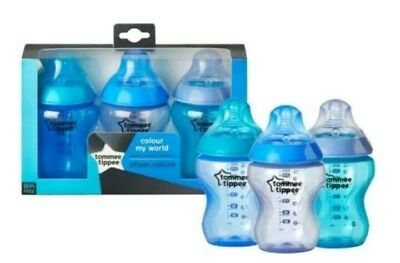 New Tommee Tippee Colour My World 260ml Baby Feeding Bottles 3 pack 0m+ Blue