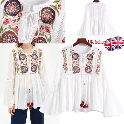 bf04af01adfefc UK Womens Retro Floral Embroidered Tops Tassel T Shirts Hollow Out Blouses  Gifts