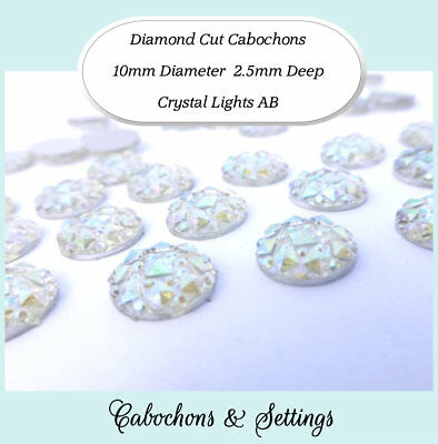 10 x Crystal Lights AB Diamond Cut 10mm Cabochon Perfect for Earrings