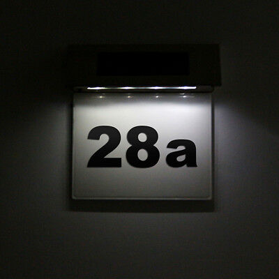 Solar Powered 4LED House Address Number Stainless Steel Doorplate Light Lamps 3W