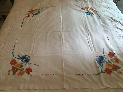 Vintage Linen Embroidery Table Cloth Blue Birds And Flowers