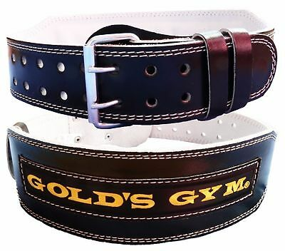 "Black Gold Gym Leather Belt Weight Lifting 4"" Lumber Back Support Training"
