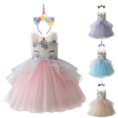Unicorn Tutu Skirt Costume Dress with Headband for Girl Cosplay Birthday Party