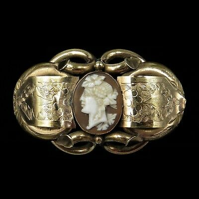 Antique Victorian Hand Carved Shell Cameo Pinchbeck Gold Knot Brooch Pin C.1860