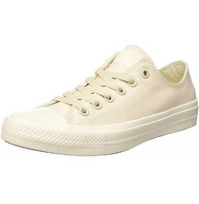 CONVERSE CHUCK TAYLOR ALL STAR II LOW TOP SHOE OFF WHITE/WHITE CANVAS Size 11