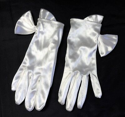 Vintage White Gloves Satin Stretch with Peek-A-Boo Bows 1950s