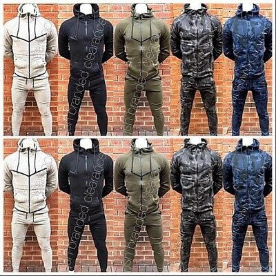 Mens Camouflage Camo Plain Tracksuit Slim Fit Joggers Pants Bottoms & Zip Hoody