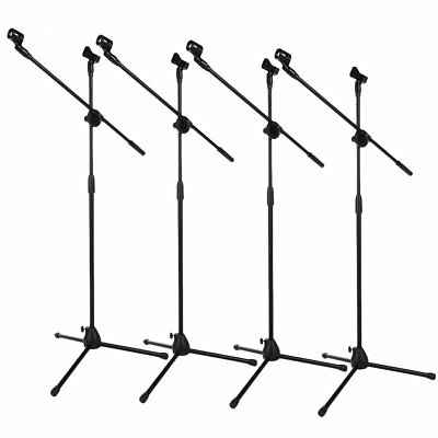 4 Pack Dual Microphone Stand Boom Arm Holder & Mic Clip Stage Studio Tripod MX