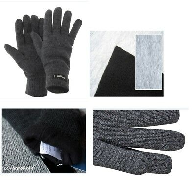 Men WINTER Warm Thermal Knit Knitted THINSULATE INSULATION FLEECE GLOVES GREY