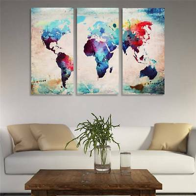 Unframed Modern World Map Art Canvas Oil Painting Picture Print Home Wall Decor
