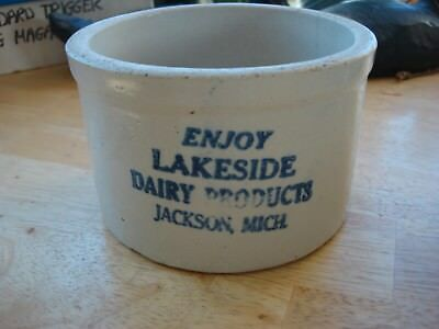 Vintage Advertising Butter Crock (Lakeside Dairy Products)