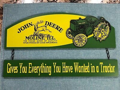 """John Deere Collection Tractor Yellow & Green 2Piece Hanging Wood Sign 9.5"""" x 16"""""""