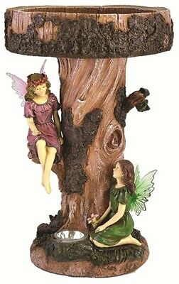 Gardenwize Fairy Tree Birdbath Table Garden Bird Bath Feature with Solar Light