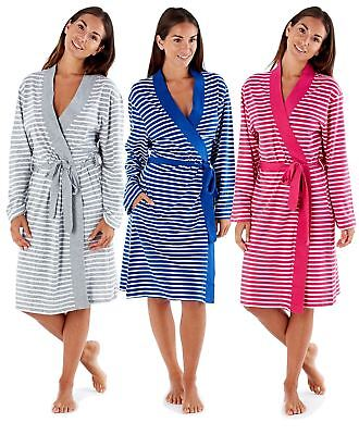 Ladies Robe Jersey Yarn Dyed 100% Cotton Striped Lightweight Soft Dressing  Gowns 0ae900fdc