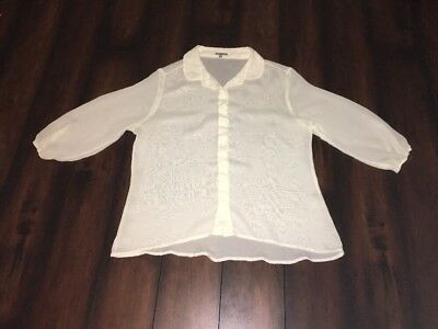 CHARLOTTE RUSSE......White Cream Color MESH SHEER TOP L/S SIZE Large