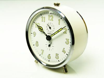 Beautiful Later Art Deco White  Alarm Desk Clock From Kienzle Germany