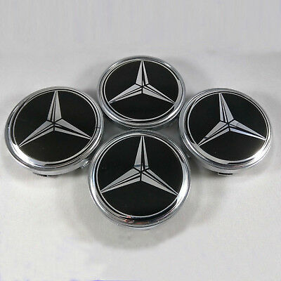 4x For Mercedes Benz Wheel Center Caps Emblem Black Star Logo Hubcaps 60MM