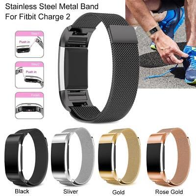 Magnet Replacement Milanese Loop Band Stainless Steel Strap for Fitbit Charge 2
