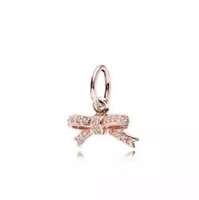 Pandora Rose Gold Bow Dangle Charm ALE R + Pandora Pouch