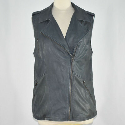 Lucky Brand Women's Lamb Leather Moto Vest LARGE Slate Gray NWT