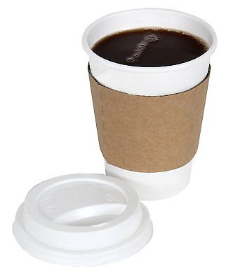 OpenBox 2dayShip White Paper Hot Coffee Cups with Lids and Sleeves, White, 12 Ou