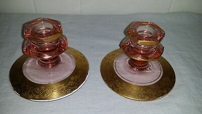 Vintage Antique Pink Depression Glass Candlestick Holders Encrusted In Gold