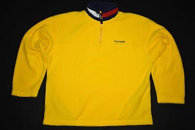 Tommy Hilfiger Pullover Fleece Sweatshirt Sweater Vintage 90er Winter Gelb Zip L