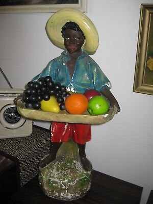 Blackamoor Vintage plaster boy with tray-Huge 970mm high