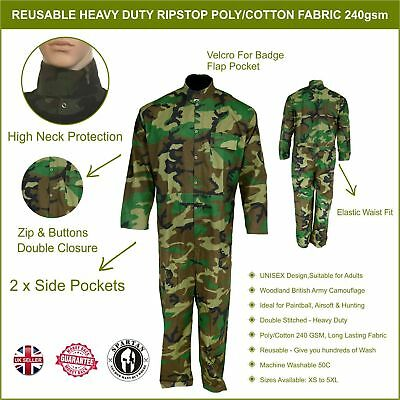 Reusable Camouflage COVERALL BOILER SUIT OVERALL Paintball Airsoft Party Hunting