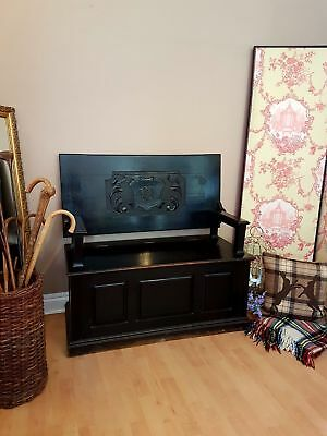 Antique Monks Bench Settle Seat Chair / Table Wooden Blanket Box Chest Storage