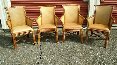 Classic Rattan Arm Chairs w/Padded Tan Leather Seats