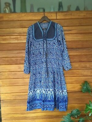 Vintage 1970s Indian Gauze Printed Blue Dress Hippie Boho Kaiser Phool Small
