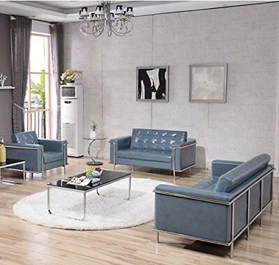3 Pcs Contemporary Lesley Series Gray Leathersoft Reception Furniture Lounge Set