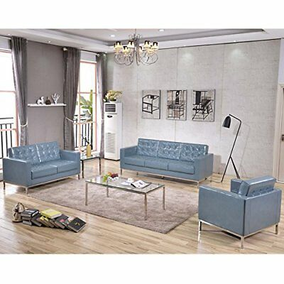 3 Pcs Contemporary Lacey Series Gray Leathersoft Reception Furniture Lounge Set