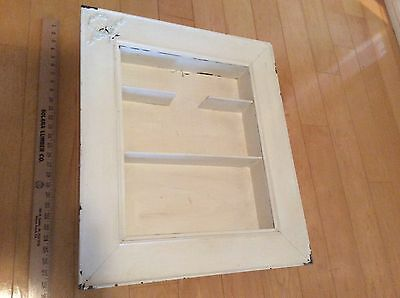 Antique Rustic Chic Shabby White Painted Wooden Hanging Shelf