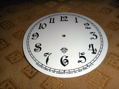 For American Clocks-Ansonia Paper Clock Dial-125mm M/T-Arabic-White-Clock Parts