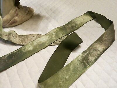 "Vintage Soft Luscious Grass  Green   Silk Velvet Ribbon Doll Art Bty  2"" Wd Vr19"