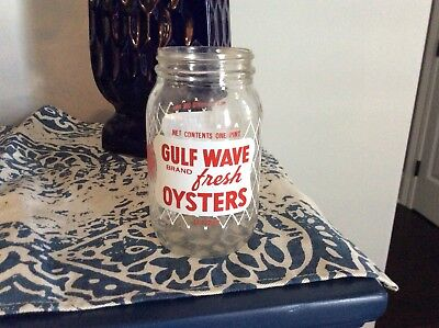 GULF WAVE OYSTERS glass jar ACL Bottle New Orleans, La. Advertising