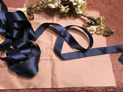 Early Vintage Silk Satin Navy Blue Woven Edge Ribbon  Millinery Dolls  3 Yds T90