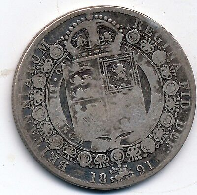 1891 Circulated, Great Britain, Silver 1/2 Crown, Km #764